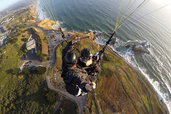 Paragliding along the coast
